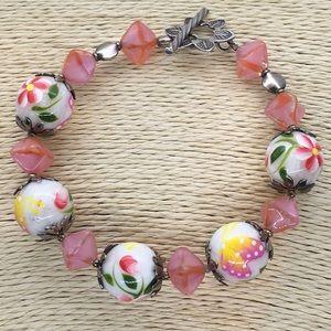 Jewelry - Beaded butterfly flowers silver tone bracelet